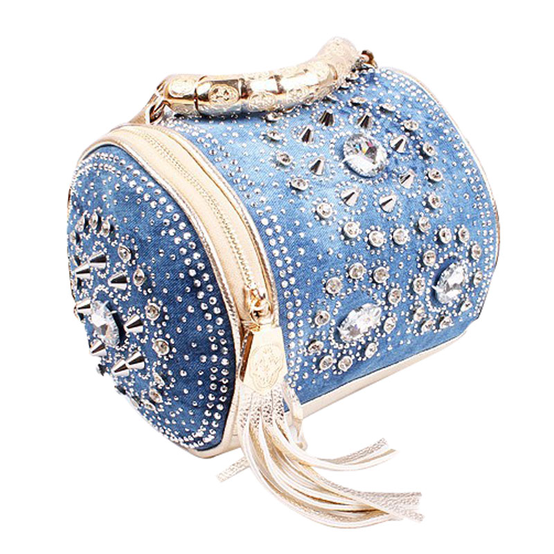 designer rivet tassel handbag women jean cloth shoulder bags fashion small blue color crossbody bags for - Sac A Main Color