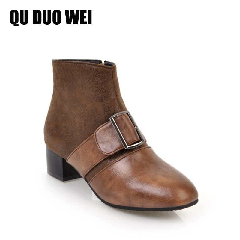 QUDUOWEI Vintage Shoes Black Brown Platform Martin Boots For Women Zipper Autumn Ladies High Heels Shoes Buckles Ankle Boots 7inch lcd display screen for texet tm 7068 tm7068 texet tm 7068 x pad ix 7 3g russia tablet replacement free shipping