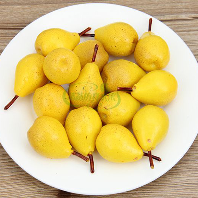 050 Simulated pear yellow pear model PVC photographic false fruit props 2 8 5cm in Artificial Foods Vegetables from Home Garden