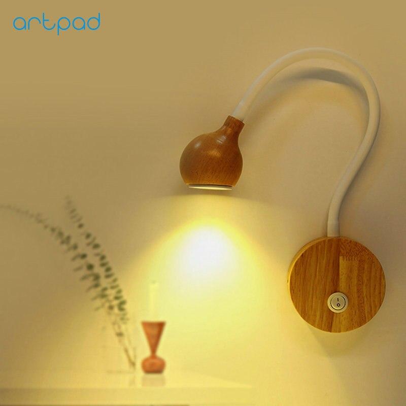 Японский дизайн дерево Гибкая рука прикроватный настенный светильник 5 Вт 110 В 240 В с переключателем крытый гостиной осветляющие лампы Декор