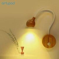 Japanese Design Wood Flexible Arm Bedside Wall Light 5W 110V 240V with Switch Indoor Living Room Lighing Lamps Decor