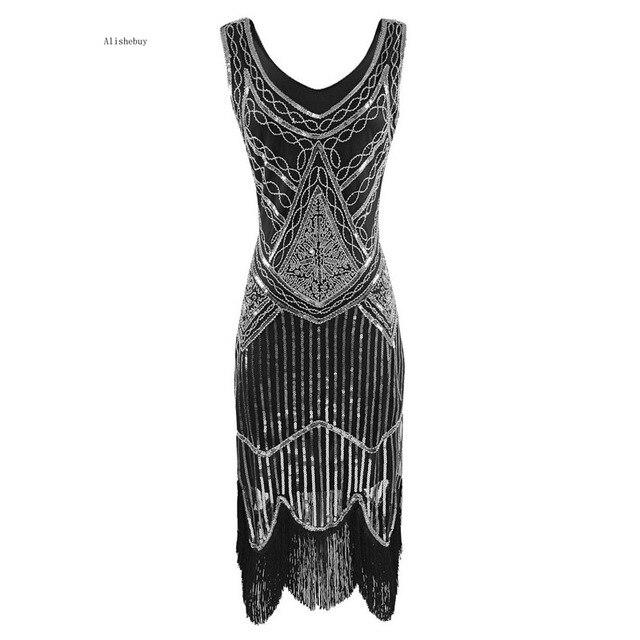 Partei Quaste Sequin Kleid Frauen 1920 Größe Leuchtenden Fringe Gatsby 2018 Sexy Abend Retro Top Plus Kleider S Charleston Bling WHD29IYebE