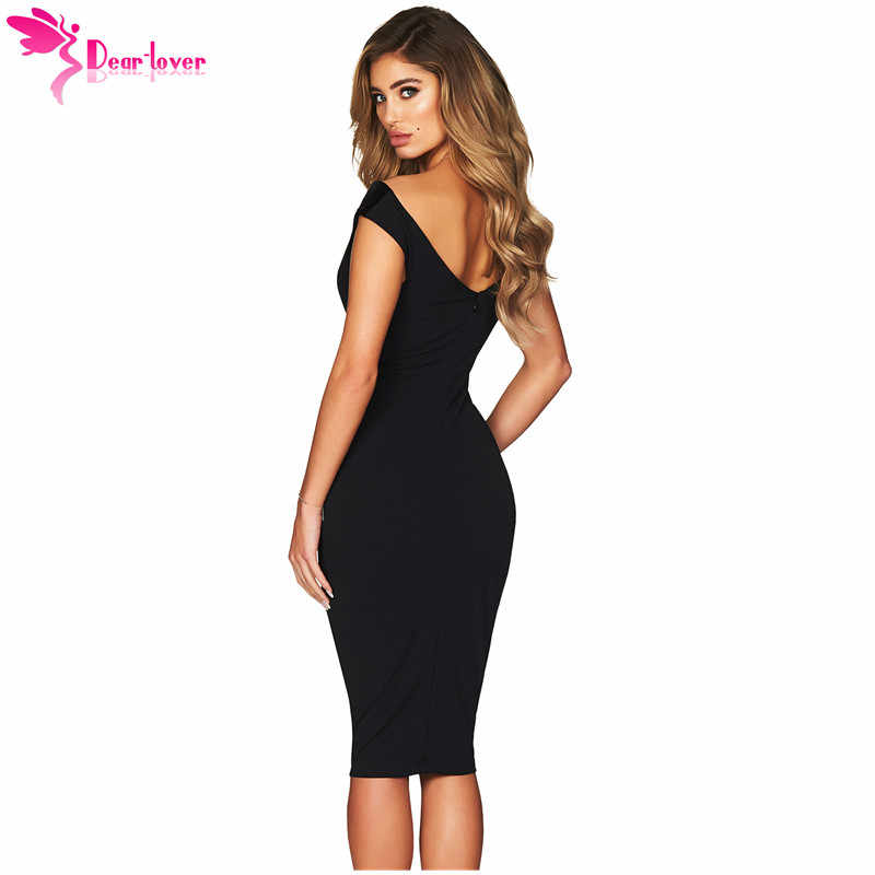161c9489d58a ... Dear Lover Sexy Party Dress Women Summer Show Hourglass Figure Black  Off Shoulder Midi Dress with ...