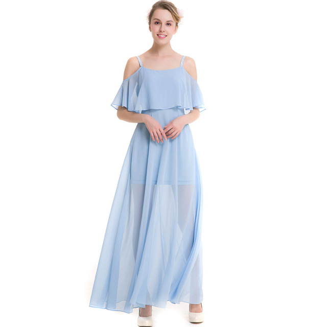 Summer Women Chiffon Dress Open-shoulder Cami Maxi Dress Light blue White ec4c53c2ac