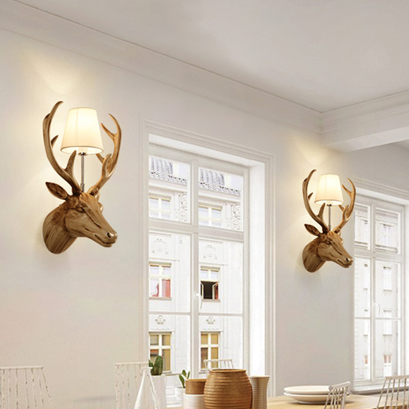 Deer antler wall lamps retro wall lights fixture home indoor deer antler wall lamps retro wall lights fixture home indoor lighting bedroom restaurant foyer dining room cafes club resin lamp in wall lamps from lights mozeypictures Choice Image