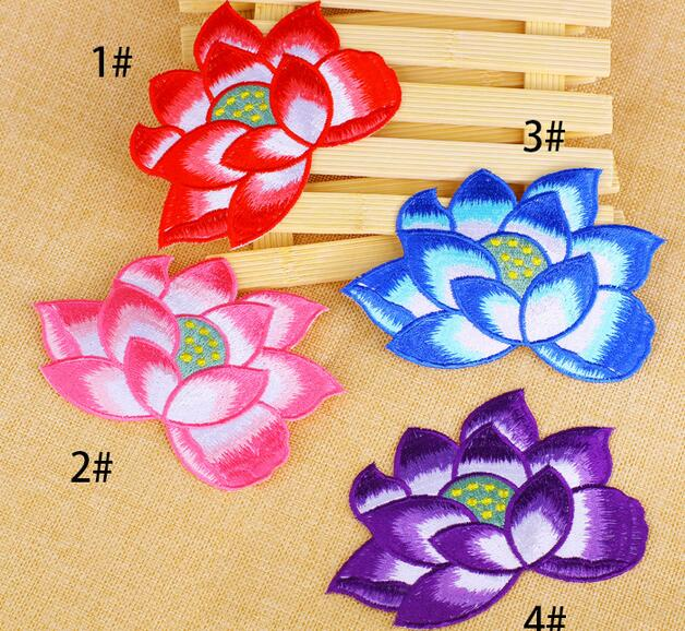 Wholesale Bulk Lot Large Embroidered Red Pink Purple Blue Lotus