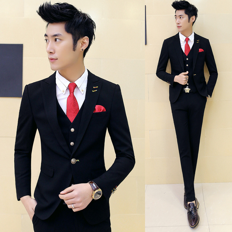 Spring and Autumn fitted new wave of men 's suit men groom wedding dress men' s three piece suit
