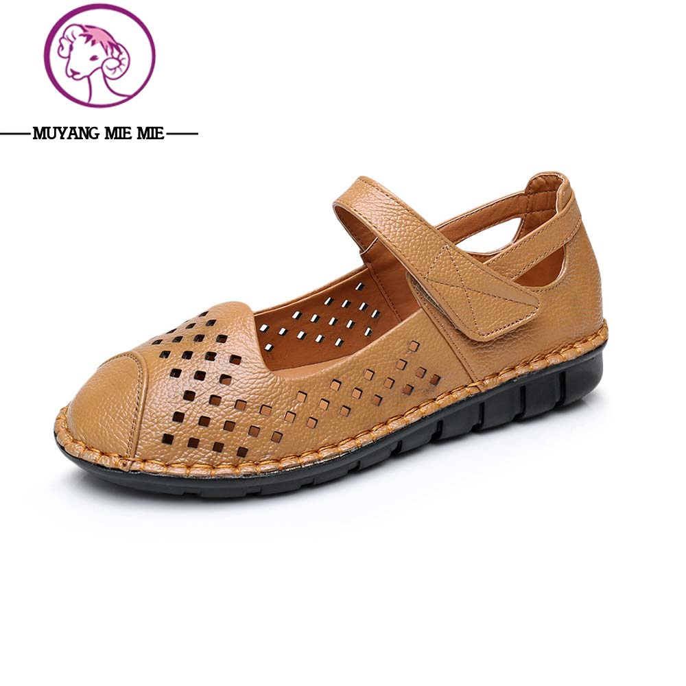 MUYANG MIE MIE Women Sandals Plus Size (34-43) Summer Genuine Leather Women's Shoes 2017 Casual Platform Sandals Women's Sandals muyang mie mie women sandals 2018 new summer shoes woman genuine leather flat sandals fashion casual sandals women