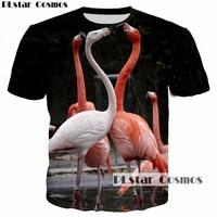 PLstar Cosmos 2017 New Design Women Men T Shirt Flamingos Lovers Heart Sweetheart 3D Print T