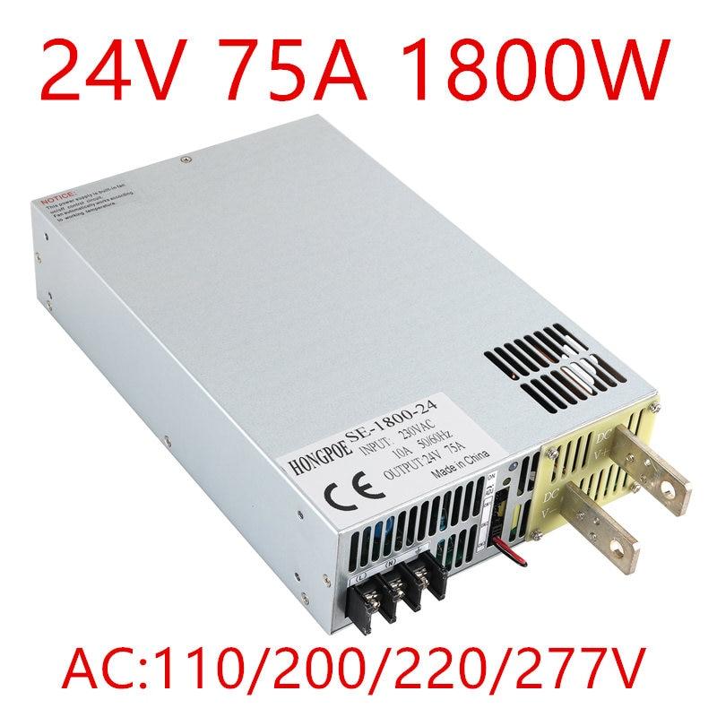 цена 1PCS SE-1800-24 1800W 24V Power Supply 24V 75A 0-24V adjustable 0-5V analog signal control DC24V 75A AC- онлайн в 2017 году