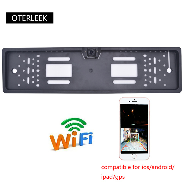 OTERLEEK WIFI License Plate Rear View Camera Wifi Back Up Camera for ipad  for iPhone Android and Car GPS