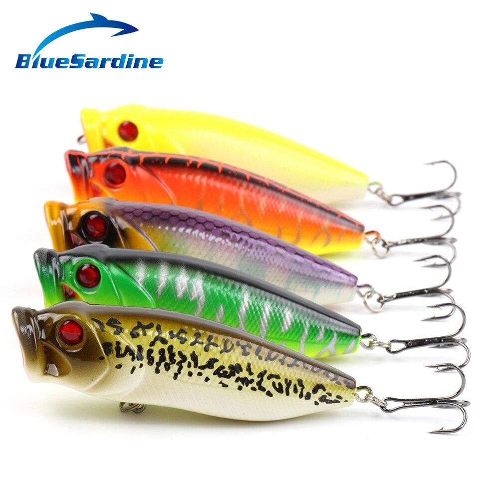 9g//8cm fishing lures baits floating metal crankbait popper hard lures hooks 5# X