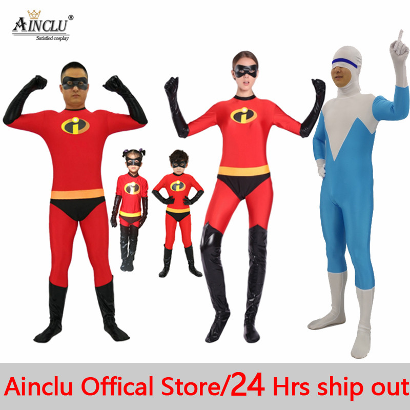 Ainclu 24 Hrs Ship Kids Adults The Incredibles Cosplay Costumes Family The Incredibles Spandex Jumpsuits Bodysuits for Halloween
