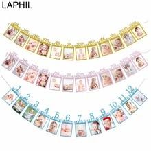 LAPHIL Baby 1st Birthday Boy Girl 12 Month Photo Banner I AM