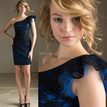 2015 Garden/Outdoor Summer New A-Line Zipper Back Black/Royal Lace Bridesmaid Dress One Shoulder
