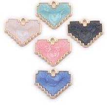 TJP 10pcs Gold Enamel Colorful Drop Oil Heart Love Charms Pendants for DIY Handmade Jewelry Making Findings 18x25mm