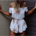 2016 Floral Jumpsuit Women Print Sexy Slash Neck Off Shoulder Shorts Rompers Adjustable Waist Playsuit Overalls macacao S6366