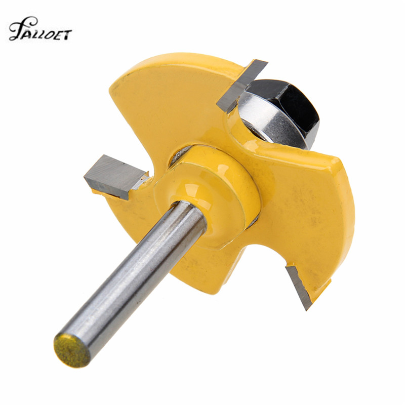 2 pcs Routeur Bit Set 3/4 Stock 1/4 tige 3 Dents T-forme Bois Fraise Machine pour Plancher Outils de Travail Du Bois