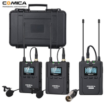 Wireless Lavalier Microphone System, Comica CVM WM200 UHF Wireless Lapel Mic for DSLR Camera, XLR Camcorders Video Recording