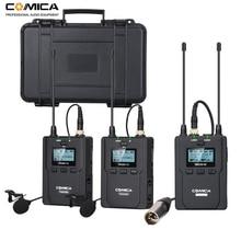 ワイヤレスラベリアマイクシステム、comica CVM WM200 uhfワイヤレスラペルマイク一眼レフカメラ用、xlrビデオカメラビデオ録画