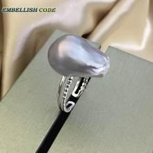 Женское кольцо из серебра 925 пробы с натуральным культивированным