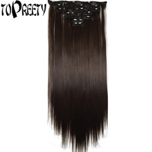 TOPREETY Heat Resistant Synthetic Fiber 100g 22″ 55cm Silky Straight Clip in hair Extensions 7pcs/set Full head