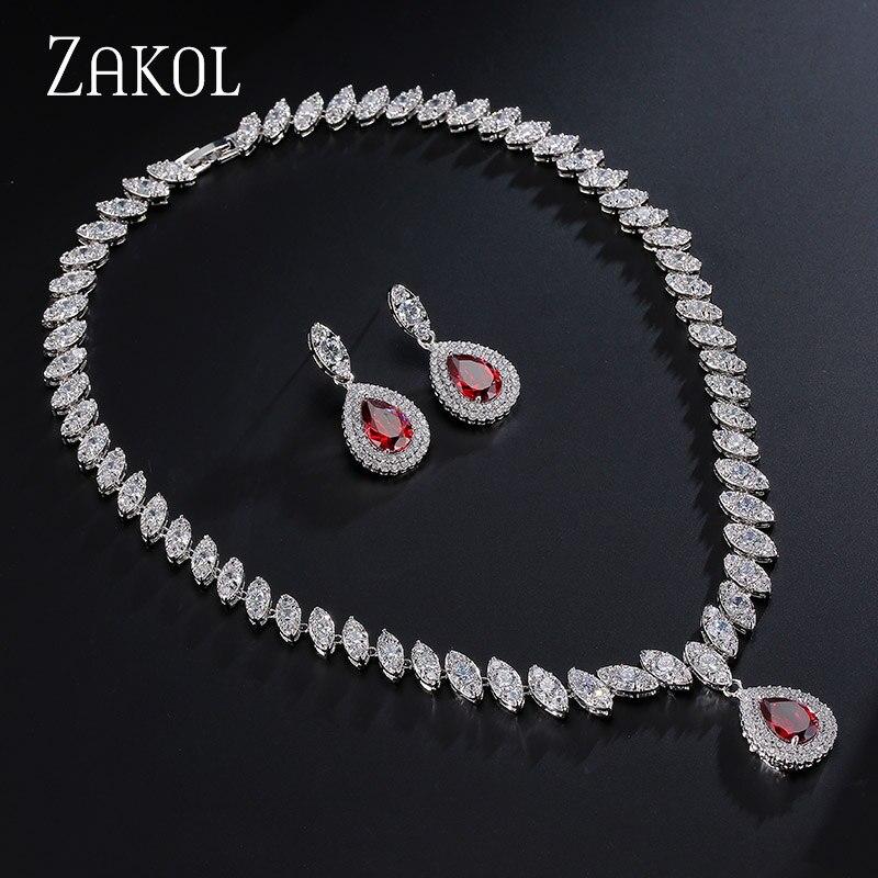 ZAKOL Brand Trendy Red Water Drop Shape Cubic Zirconia s