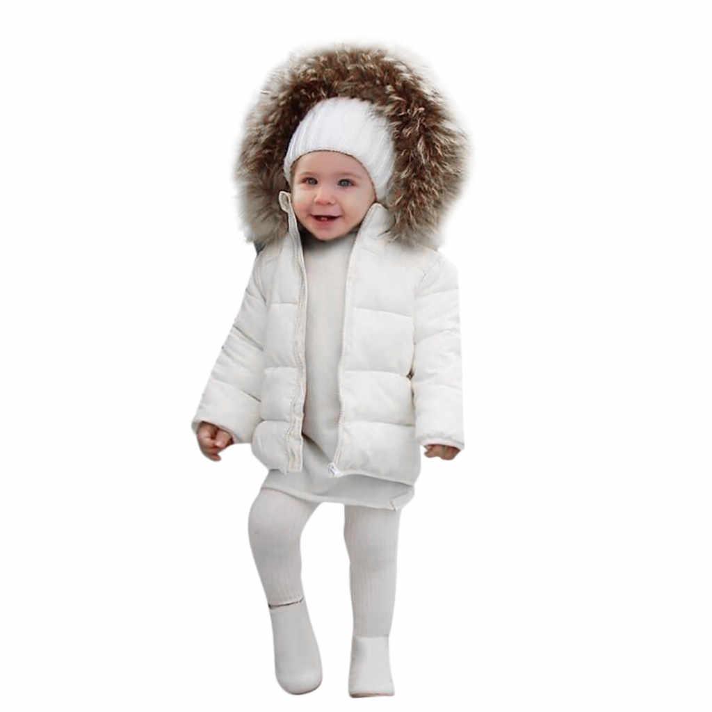 2018 invierno niños Snowsuit bebé niñas abrigo de invierno niños ropa infantil Cuello de piel chaqueta gruesa con capucha bebé niña ropa de niño
