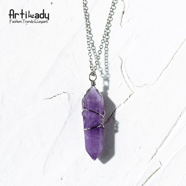 Online Shop Artilady natural quartz pendant necklaces wire wrapped ...