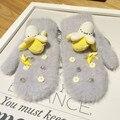 Coreia do Novo Padrão Dos Desenhos Animados Banana Daisy Flor Espessamento Double-deck Manter Aquecido Luva Lint Luva mulheres luvas homens inverno mittens