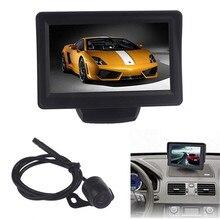 Car-styling Coche de 4.3 Pulgadas TFT LCD Monitor Del Espejo + Opinión Posterior del Revés de Copia de seguridad CMOS de La Cámara