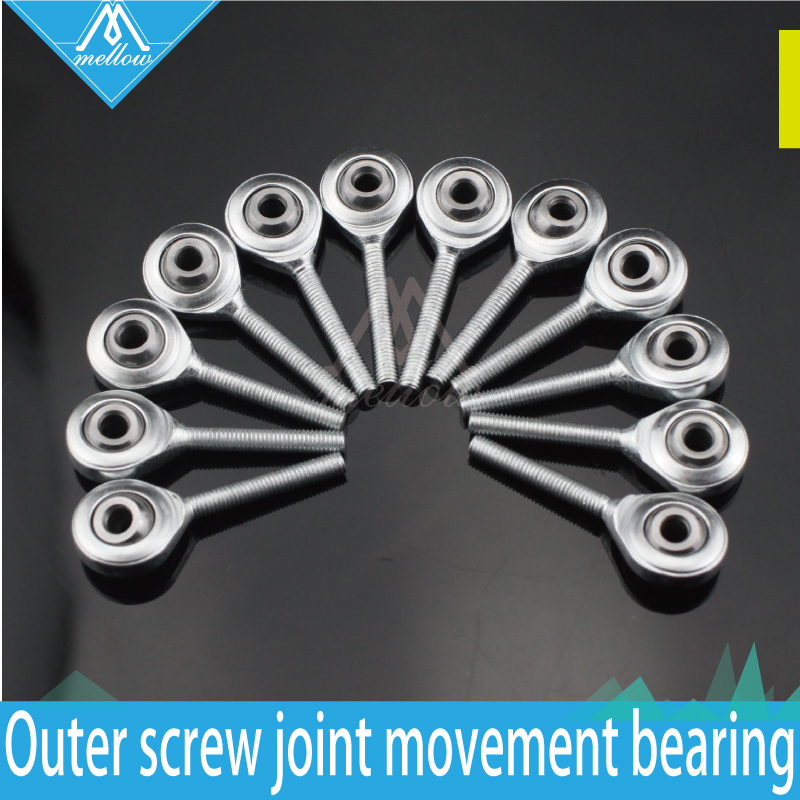 NEW 12pcs Kossel Mini Rostock Robot Delta 3D Printer Rod Ends Self-lubricating Rod Ends SA3P/K Bearings Spherical Plain Bearings