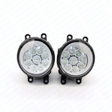 2pcs Car Styling Round Front Bumper LED Fog Lights High Brightness DRL Day Driving Bulb Fog Lamps  For TOYOTA RAV 4 III ( ACA3