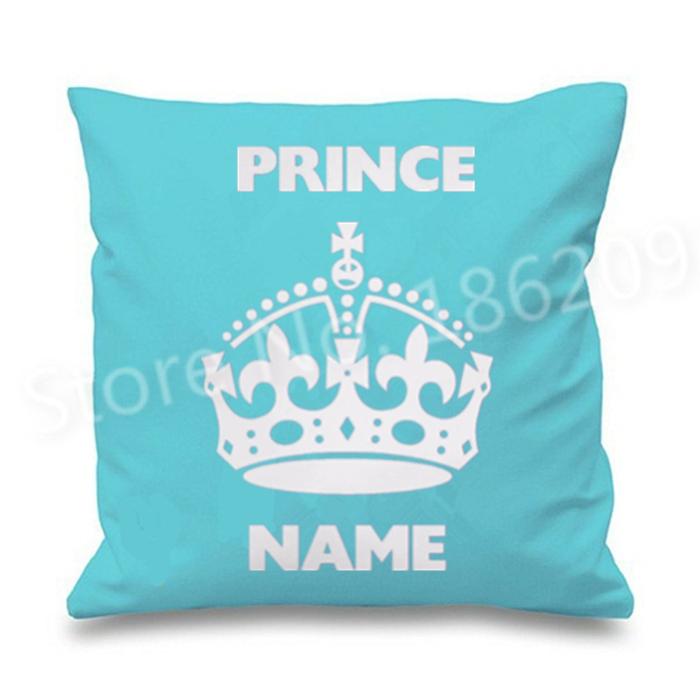 Us 1259 10 Offpersonalisierte Blauen Prince Crown Design Kissenbezug Benutzerdefinierte Name Gedruckt Dekokissen Fall Abdeckungen Jungen Geschenk