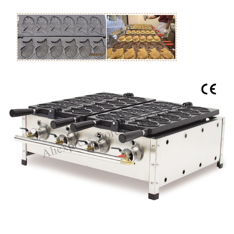 Commercial Gas Taiyaki Machine with 12 pcs Moulds Gas Fish-shaped Waffle Machine Street Snack Taiyaki Making Machine electric taiyaki waffle machine fish shape cake waffle baker taiyaki maker wonderful snack machine with 6 moulds