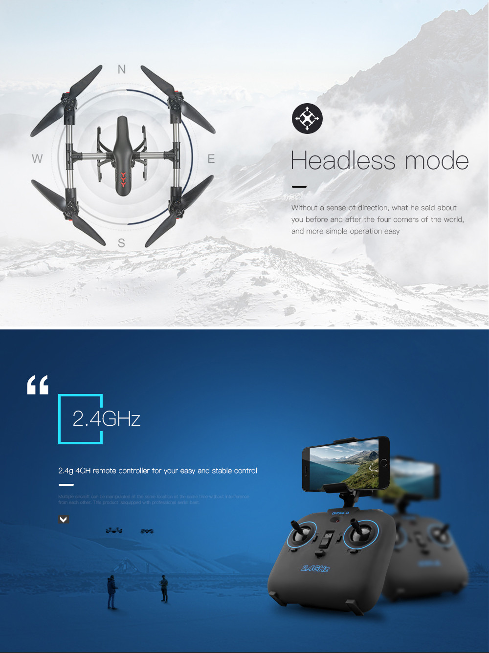 Aititude Hold 2.4G WiFi RC Quadcopter 6-Axis Gyro 2MP HD FPV Drone Helicopter FOR   new arrival 5