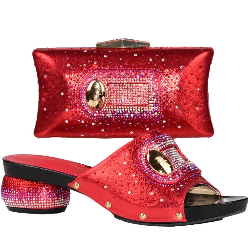 El azul Conjunto verde Mujeres Con Moda Nigeriano Negro rojo Nueva Fijados Para Rhinestone Bolso oro Zapato Decorado En Partido Y Zapatos De Africanos Bolsa BRwqOI
