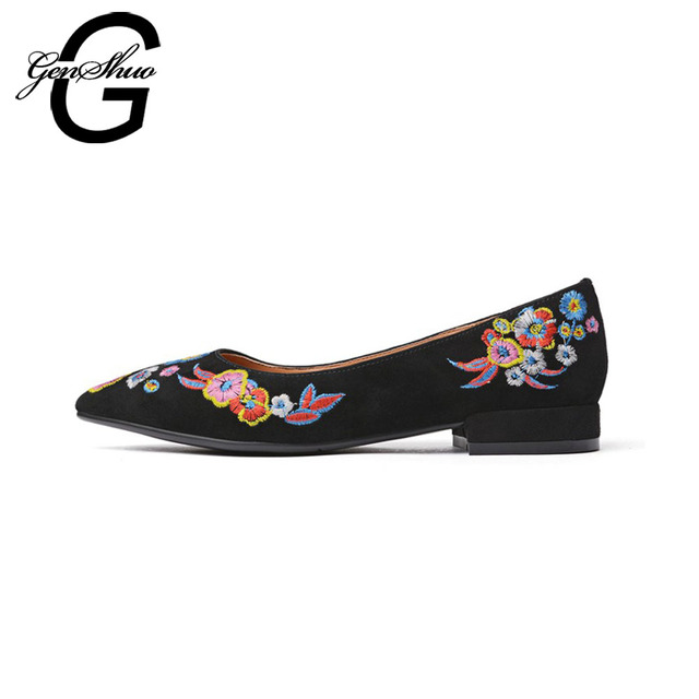 GENSHUO Autumn Embroider Women Flat Shoes Slip On Ladies Shoes Pointed Toe Women's Shoes Without Heels Womens Flats Big size 43