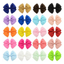 "40pcs/lot 3.5"" Grosgrain Ribbon Boutique Hair Bows With Clips Hair Accessories For Girls Kids Children Solid Bow Hair Clip"