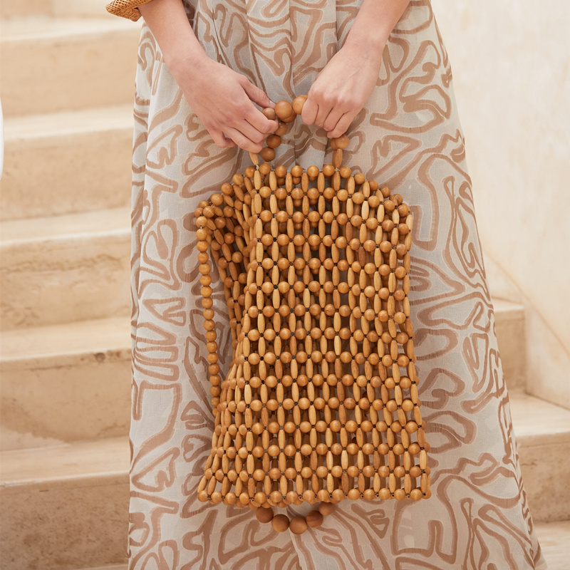 vintage 2019 new wooden beads with beads woven portable fashion bag dinner single Bamboo shoulder Messenger