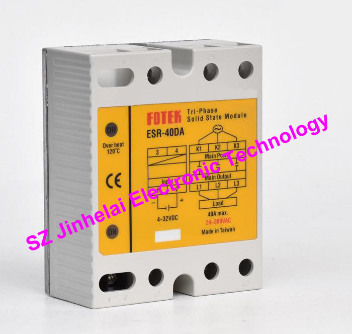ESR-40DA  New and original FOTEK  Three-phase solid state relay,3-Phase Solid state module  40A brand new original japan niec indah pt150s16a 150a 1200 1600v three phase rectifier module