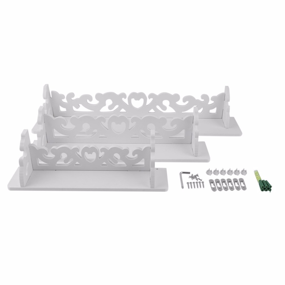 OUTAD One Set White Wood Three Pieces White Wood Display Wall Shelf Storage Ledge Home Dector simple cleaning and durability