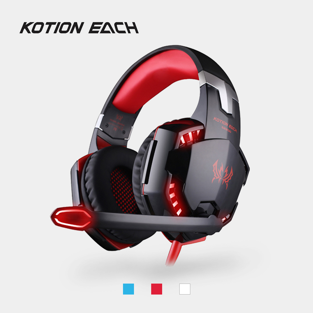 KOTION EACH G2200 Gaming Headphone Stereo Headband Game Headsets USB 7.1 Surround Vibration Wired Headphones with Mic LED Light each g1100 shake e sports gaming mic led light headset headphone casque with 7 1 heavy bass surround sound for pc gamer