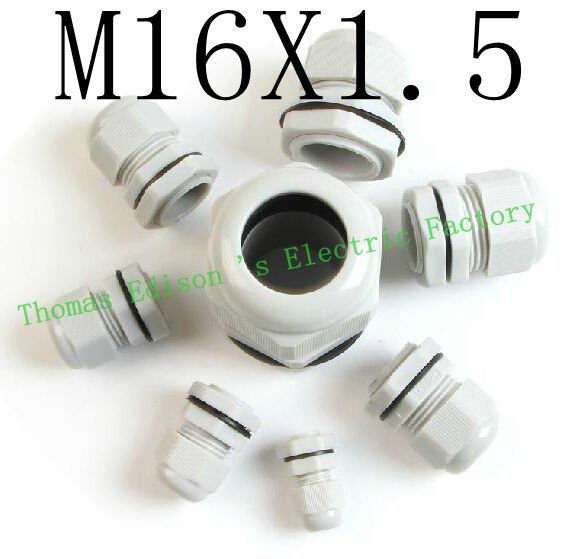 High Quality IP68 M16X1.5 4-8MM Waterproof Nylon Cable Gland Waterproof Gasket Plastic Cable Gland (100PCS a lot)