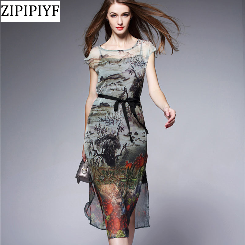 Здесь продается  2018 Spring Summer Chinese Silk Dresses Women Ink Painting Retro Vintage Casual Dress See Through Midi Dress Vestidos VXR009  Одежда и аксессуары