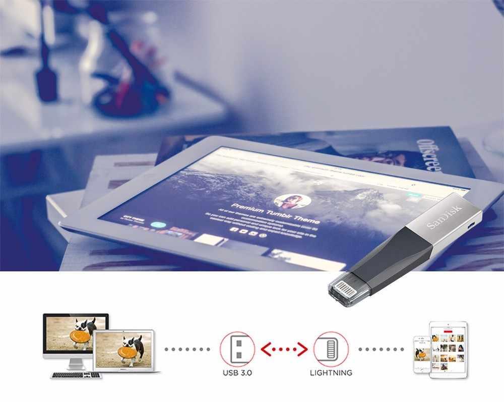 Pamięć USB SanDisk iXPand OTG złącze Lightning U dysk USB 3.0 Stick 32GB 64GB 128GB pen-drivy MFi dla iPhone i iPad
