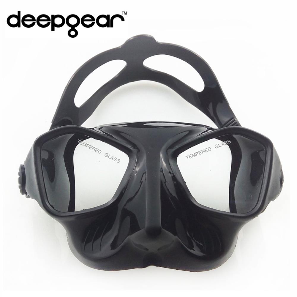 DEEPGEAR Extreme Low Volume Spearfishing Mask Black Silicon Freediving Mask Top Spearfishing And Dive Gears Tempered Scuba Mask