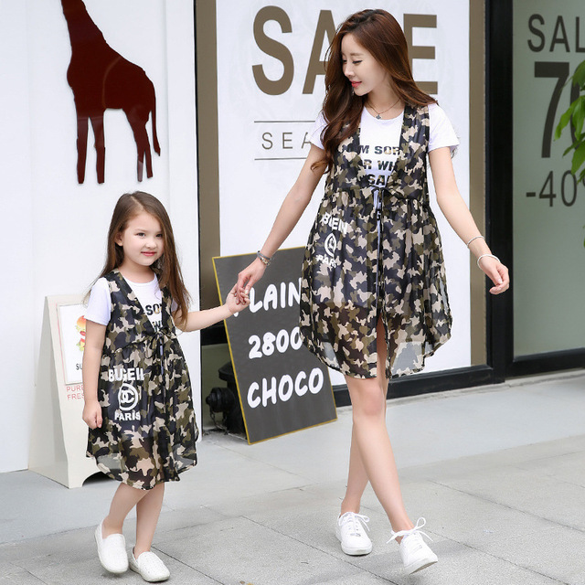 2016 summer mother and daughter clothes t-shirt + vest sets for mom and daughter family matching outfits casual family look
