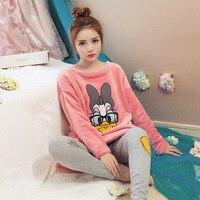 2016 Pyjamas Winter Women Pijamas Mujer Women Costume Pajamas Coral Fleece Pajamas Set Keep Warm Sleepwear