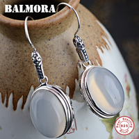 BALMORA 100 Real 925 Sterling Silver White Oval Drop Earrings For Women Mother Gift Retro Elegant